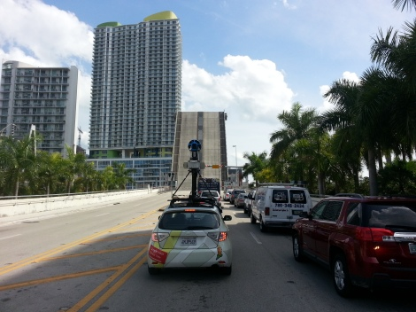 The GoogleMaps car at the SW 2nd Avenue bridge over the Miami River. Source: Matthew Toro. April 10, 2014.