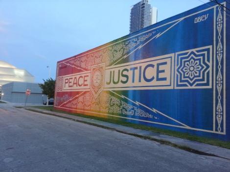 Miami Geo Quiz #7: Peace & Justice, defaced. Source: Matthew Toro. April 18, 2014.