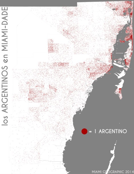 Los argentinos en Miami-Dade. Data Source: 2010 Decennial Census. Map Source: Matthew Toro. 2014.