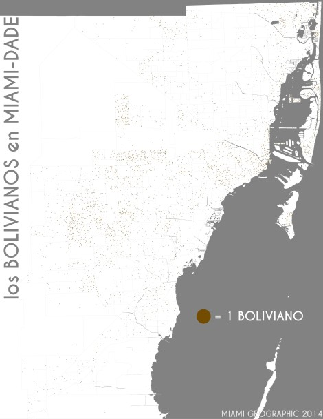 Los bolivianos en Miami-Dade. Data Source: 2010 Decennial Census. Map Source: Matthew Toro. 2014.