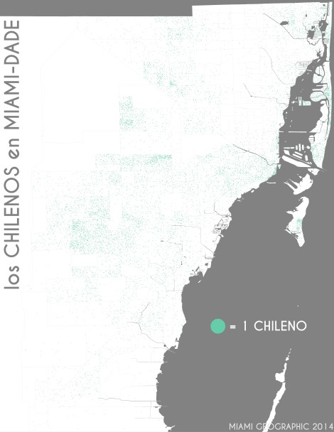 Los chilenos en Miami-Dade. Data Source: 2010 Decennial Census. Map Source: Matthew Toro. 2014.