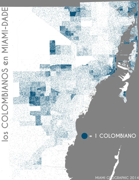 Los colombianos en Miami-Dade. Data Source: 2010 Decennial Census. Map Source: Matthew Toro. 2014.