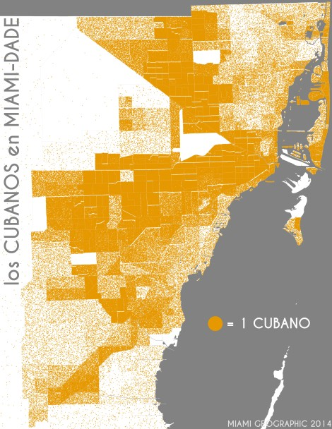 Los cubanos en Miami-Dade. Data Source: 2010 Decennial Census. Map Source: Matthew Toro. 2014.