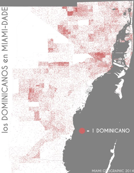 Los dominicanos en Miami-Dade. Data Source: 2010 Decennial Census. Map Source: Matthew Toro. 2014.