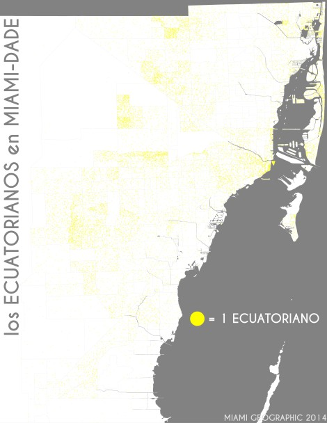 Los ecuatorianos en Miami-Dade. Data Source: 2010 Decennial Census. Map Source: Matthew Toro. 2014.