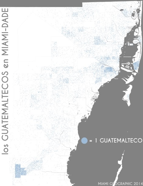 Los guatemaltecos en Miami-Dade. Data Source: 2010 Decennial Census. Map Source: Matthew Toro. 2014.
