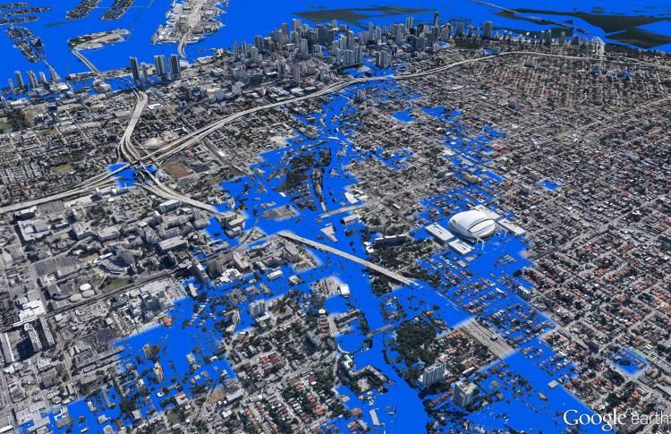 Simulated Sea Level Rise in Miami. Data Source: Climate Central. Map Source: Matthew Toro. 2013.