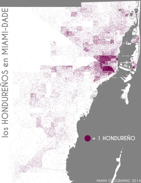 Los hondureños en Miami-Dade. Data Source: 2010 Decennial Census. Map Source: Matthew Toro. 2014.