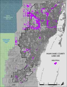 Industrial Land-Use in Miami-Dade. Source: Matthew Toro. 2014.
