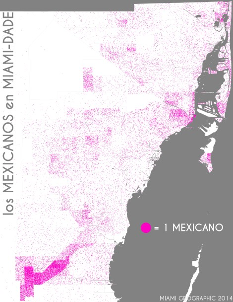 Los mexicanos en Miami-Dade. Data Source: 2010 Decennial Census. Map Source: Matthew Toro. 2014.