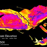 City of Miami Elevation, 50X Vertical Exaggeration. Data Source: South Florida Water Management District (SFWMD) & Florida Division of Emergency Management (FDEM). Map Source: Matthew Toro. 2014.