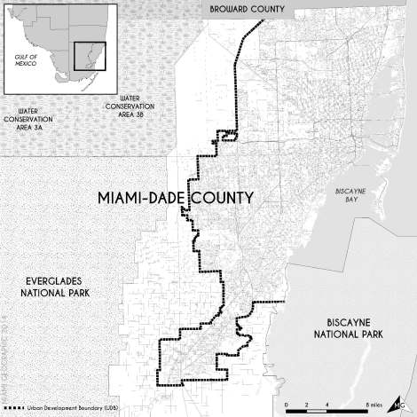 Miami-Dade County's Urban Development Boundary (UDB) in 2013. Source: Matthew Toro. 2014.