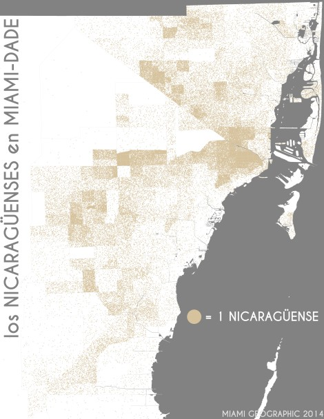 Los nicaragüenses en Miami-Dade. Data Source: 2010 Decennial Census. Map Source: Matthew Toro. 2014.