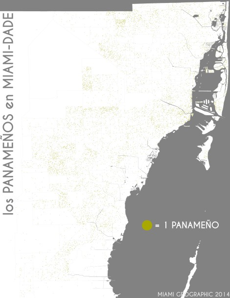 Los panameños en Miami-Dade. Data Source: 2010 Decennial Census. Map Source: Matthew Toro. 2014.
