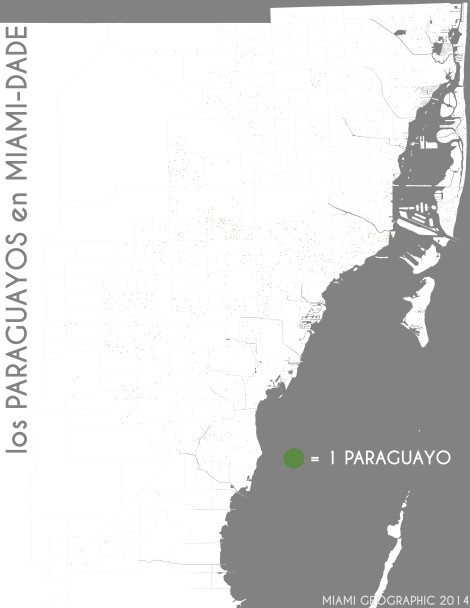 Los paraguayos en Miami-Dade. Data Source: 2010 Decennial Census. Map Source: Matthew Toro. 2014.