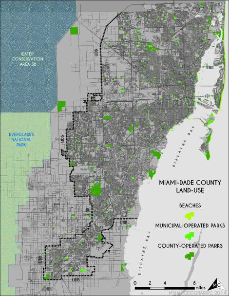 Park Land-Use in Miami-Dade. Source: Matthew Toro. 2014.
