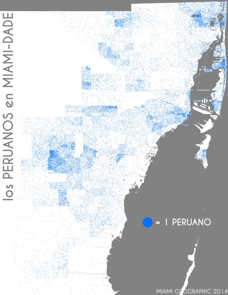 Los peruanos en Miami-Dade. Data Source: 2010 Decennial Census. Map Source: Matthew Toro. 2014.