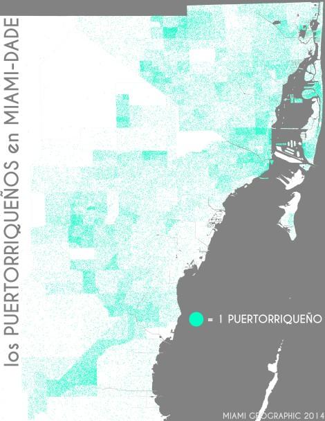 Los puertorriqueños en Miami-Dade. Data Source: 2010 Decennial Census. Map Source: Matthew Toro. 2014.