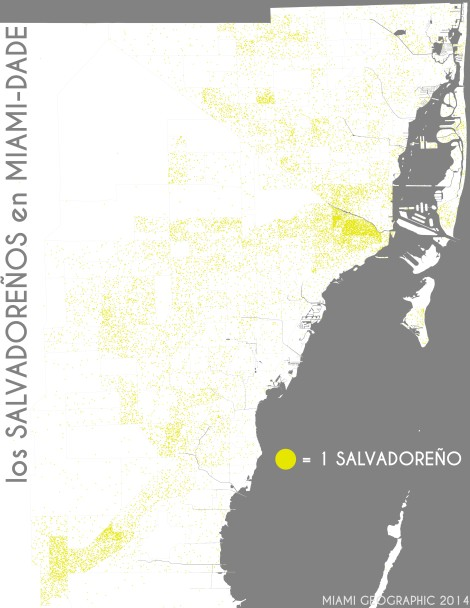 Los salvadoreños en Miami-Dade. Data Source: 2010 Decennial Census. Map Source: Matthew Toro. 2014.