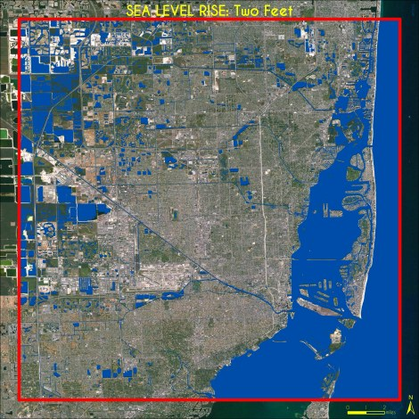 Two Feet Sea Level Rise, Miami. Data Source: Climate Central / High Water Line | Miami. Map Source: Matthew Toro. 2013.