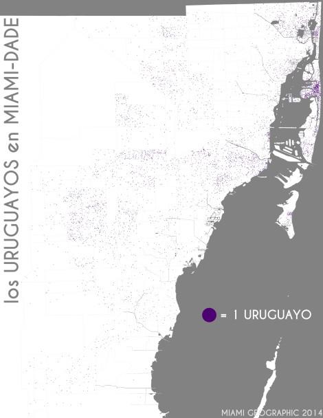 Los uruguayos en Miami-Dade. Data Source: 2010 Decennial Census. Map Source: Matthew Toro. 2014.