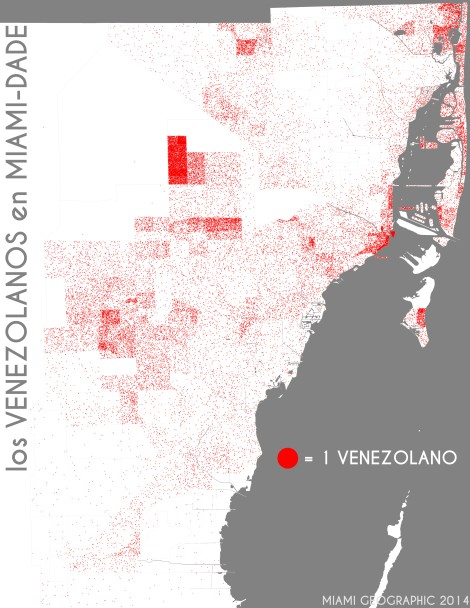Los venezolanos en Miami-Dade. Data Source: 2010 Decennial Census. Map Source: Matthew Toro. 2014.