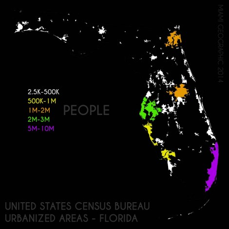Florida Urbanized Areas Stratified, 2010. Data Source: US Census Bureau, 2010 Decennial Census. Map Source: Matthew Toro. 2014.