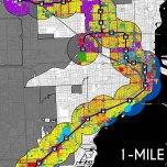 "Metrorail System 1-Mile Euclidean (""As-the-Pigeon-Flies"") 2014 Land-Use Corridor. Source: Matthew Toro. 2014."