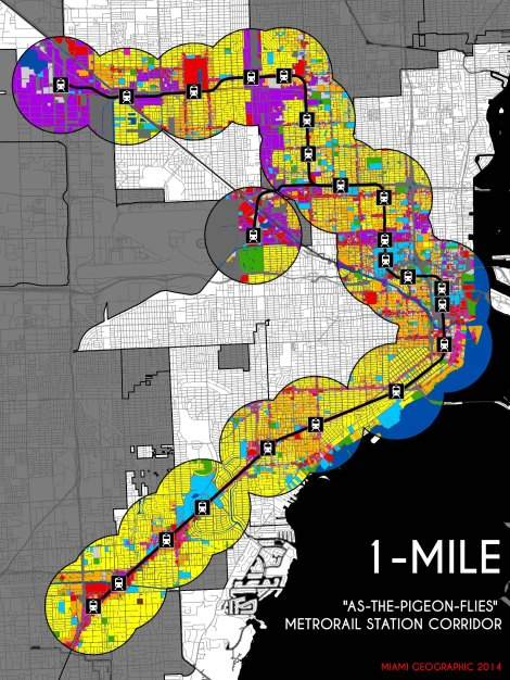 "Metrorail System 1-Mile Euclidean (""As-the-Pigeon-Flies"") 2014 Land-Use Corridor. Source: Matthew Toro. 2014."