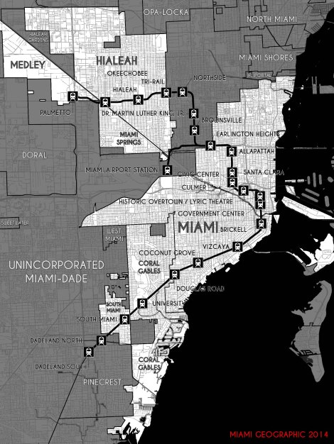 Miami's Metrorail System and Traversed Municipalities. Source: Matthew Toro. 2014.