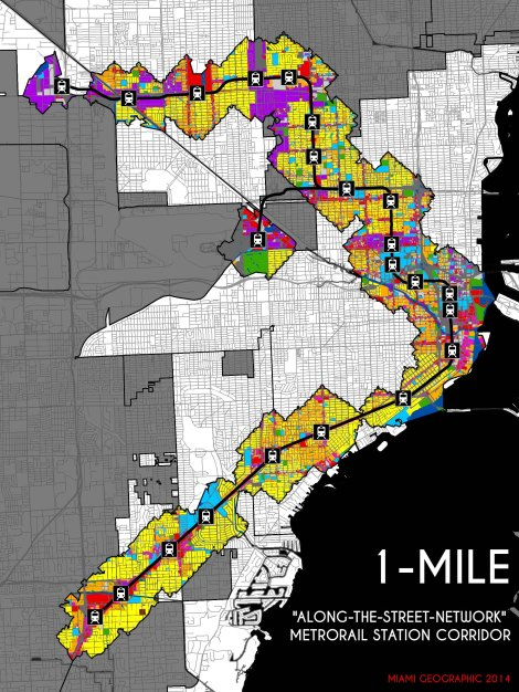 "Metrorail System 1-Mile Network (""Along-the-Street-Network"") 2014 Land-Use Corridor. Source: Matthew Toro. 2014."