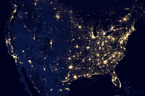 Contiguous US at Night, 2012. Data & Map Source: NASA Earth Observatory/NOAA NGDC. December 5, 2012.