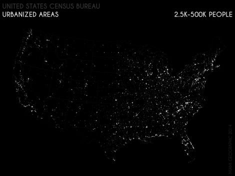Urbanized Areas (2.5K-500K People), 2010. Data Source: US Census Bureau, 2010 Decennial Census. Map Source: Matthew Toro.