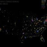 Urbanized Areas Stratified, 2010. Data Source: US Census Bureau, 2010 Decennial Census. Map Source: Matthew Toro. 2014.