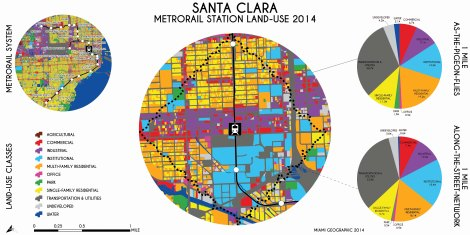 Santa Clara Metrorail Station Land-Use, 2014. Data Source: MDC Land-Use Management Application (LUMA). Map Source: Matthew Toro. 2014.