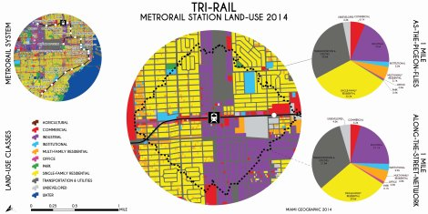Tri-Rail Metrorail Station Land-Use, 2014. Data Source: MDC Land-Use Management Application (LUMA). Map Source: Matthew Toro. 2014.