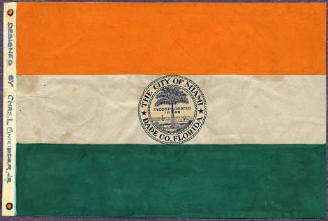 City of Miami Flag Design. 1932-1933. Source: Florida International University: Digital Collections Center: Miami Metropolitan Archive & State University System of Florida, PALMM Project.