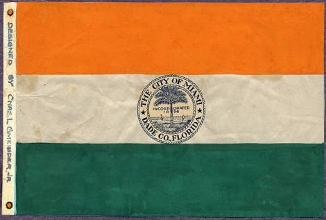 City of Miami Flag Design. 1932-1933. Source: Florida International University: Digital Collections Center: Miami Metropolitan Archive & State University System of Florida, PALMM Project.
