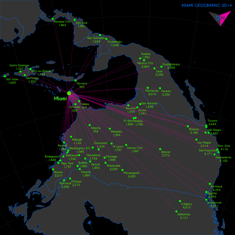 Miami Geodesic Distances (km) to World Cities -- North America View. Base Layer Data Source: Natural Earth. 2014. Map Source: Matthew Toro. 2014.