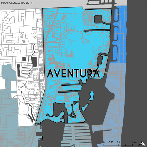 Miami-Dade Municipality: Aventura, 2014. Source: Matthew Toro. 2014. [Note: Data used carry some minor geometric inaccuracies/errors. Not to be used for legal purposes.]