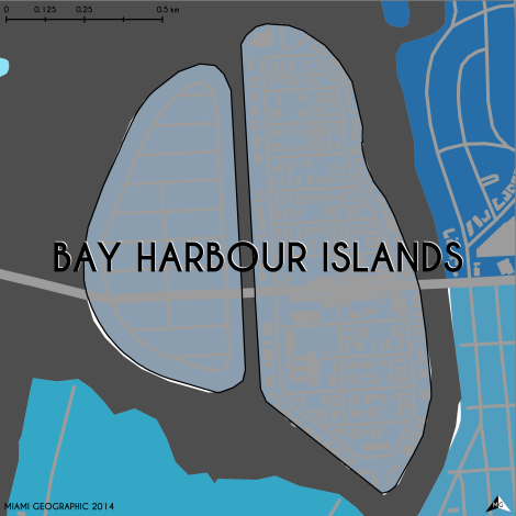 Miami-Dade Municipality: Bay Harbour Islands, 2014. Source: Matthew Toro. 2014. [Note: Data used carry some minor geometric inaccuracies/errors. Not to be used for legal purposes.]