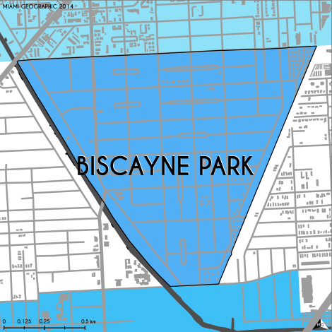 Miami-Dade Municipality: Biscayne Park, 2014. Source: Matthew Toro. 2014. [Note: Data used carry some minor geometric inaccuracies/errors. Not to be used for legal purposes.]