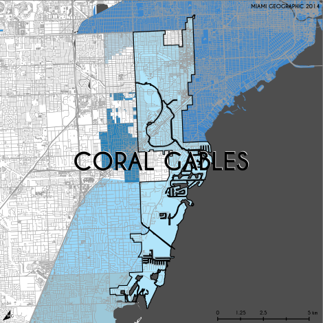 Miami-Dade Municipality: Coral Gables, 2014. Source: Matthew Toro. 2014. [Note: Data used carry some minor geometric inaccuracies/errors. Not to be used for legal purposes.]