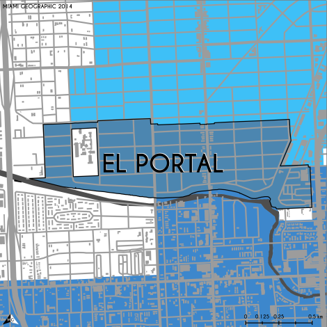 Miami-Dade Municipality: El Portal, 2014. Source: Matthew Toro. 2014. [Note: Data used carry some minor geometric inaccuracies/errors. Not to be used for legal purposes.]