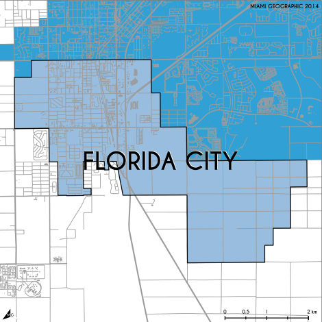 Miami-Dade Municipality: Florida City, 2014. Source: Matthew Toro. 2014. [Note: Data used carry some minor geometric inaccuracies/errors. Not to be used for legal purposes.]