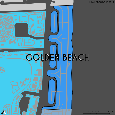 Miami-Dade Municipality: Golden Beach, 2014. Source: Matthew Toro. 2014. [Note: Data used carry some minor geometric inaccuracies/errors. Not to be used for legal purposes.]