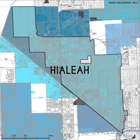Miami-Dade Municipality: Hialeah, 2014. Source: Matthew Toro. 2014. [Note: Data used carry some minor geometric inaccuracies/errors. Not to be used for legal purposes.]