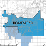 Miami-Dade Municipality: Homestead, 2014. Source: Matthew Toro. 2014. [Note: Data used carry some minor geometric inaccuracies/errors. Not to be used for legal purposes.]