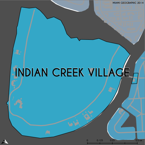 Miami-Dade Municipality: Indian Creek Village, 2014. Source: Matthew Toro. 2014. [Note: Data used carry some minor geometric inaccuracies/errors. Not to be used for legal purposes.]