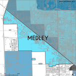 Miami-Dade Municipality: Medley, 2014. Source: Matthew Toro. 2014. [Note: Data used carry some minor geometric inaccuracies/errors. Not to be used for legal purposes.]
